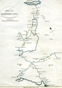Proposed route of the Ellesmere Canal. Source: Wikimedia. https://commons.wikimedia.org/wiki/File:Camlas_ellesmere.png