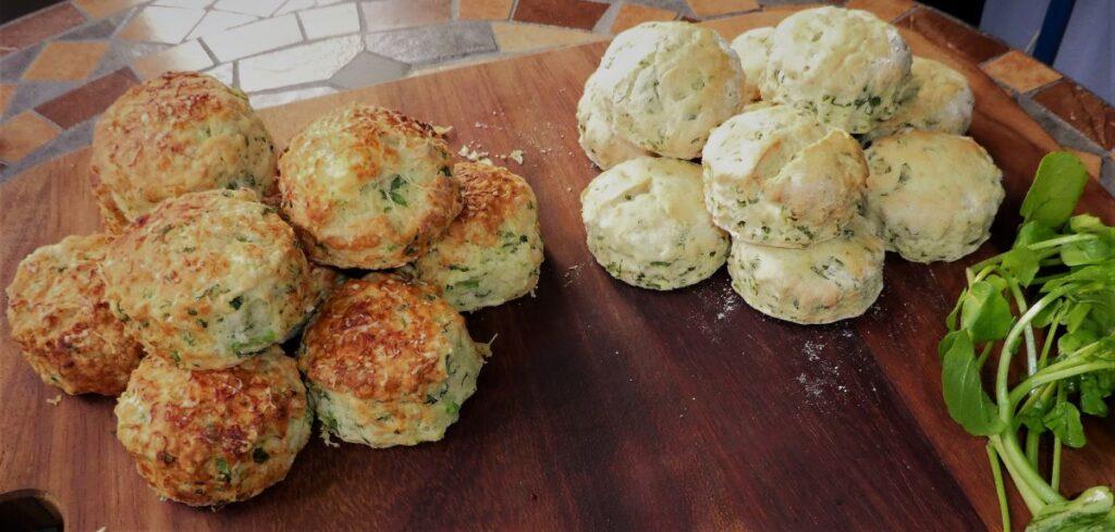 Watercress scones (non-vegan and vegan)